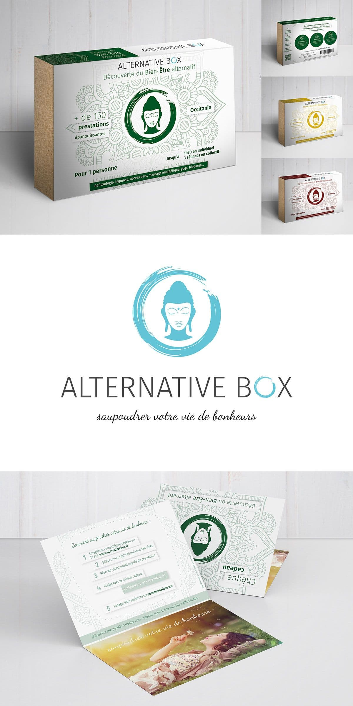 image du packaging, du flyer et du logo d'Alternative Box, box cadeau en Occitanie